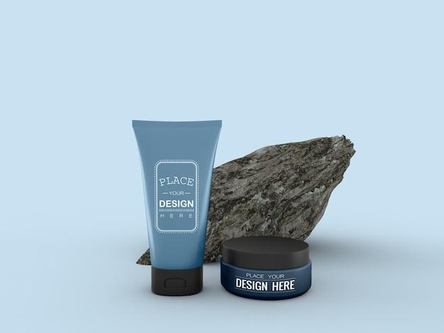 Kosmetikcremebehälter und tube modell für creme-, lotions-, serum- und hautpflege-flaschenverpackungen.