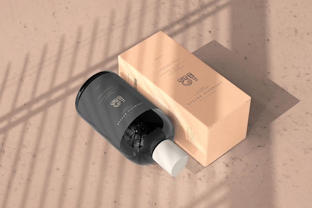 Kosmetikflasche mit box mockup