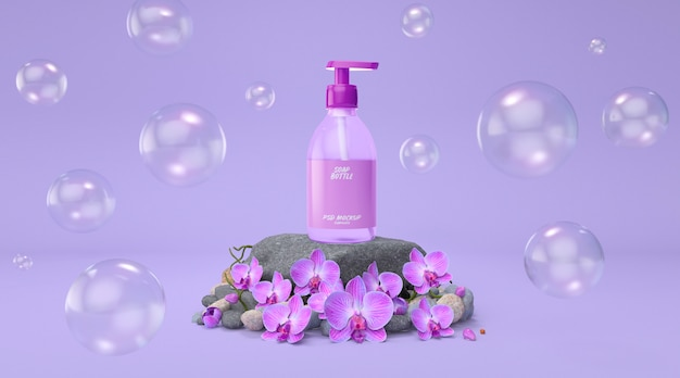 Kosmetikflasche mit spenderhandwaschmodell auf felsenbühnen lila blumenhintergrund 3d rendern