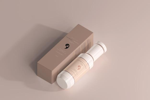 Kosmetikflasche und box mockup