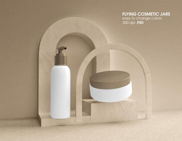 Kosmetikprodukte pump- und cremeglas-modell-design-rendering