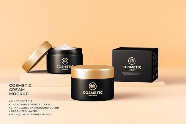 Kosmetische cremebehälter mockup 3d render veränderbare farbe