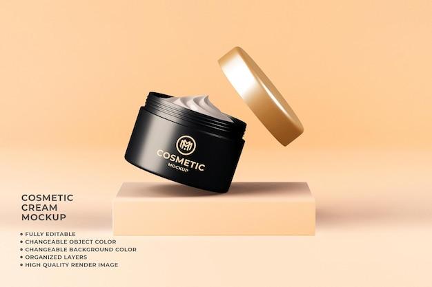 Kosmetische cremebehälter mockup bearbeitbare farbe 3d-rendering Premium PSD