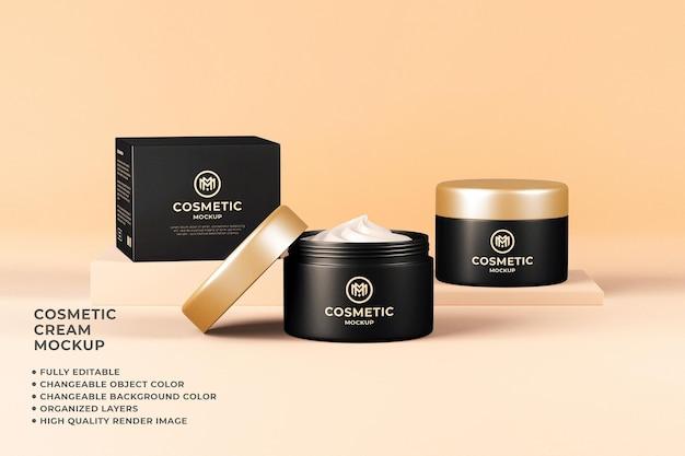 Kosmetische cremebehälter mockup veränderbare farbe 3d-rendering