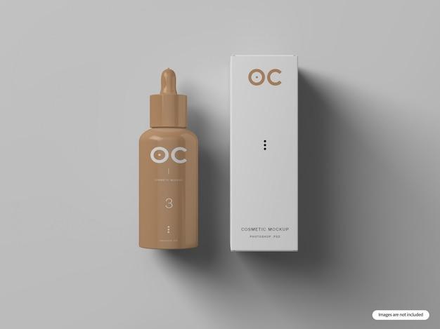 Kosmetische flasche & box mockup
