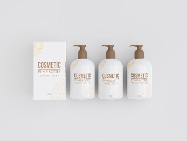 Kosmetische pumpflasche mit box-mockup