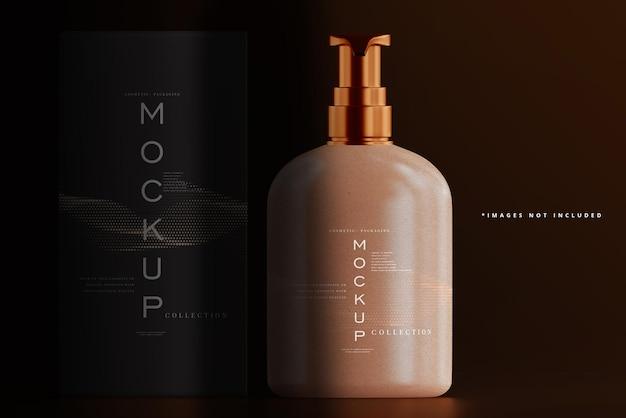 Kosmetische pumpflasche und box mockup