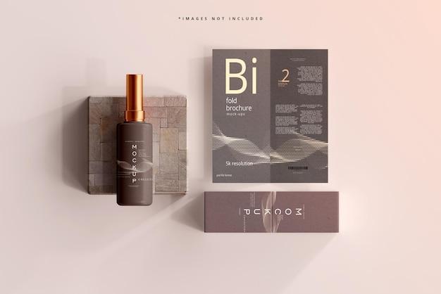 Kosmetisches flaschenmodell mit bifold-broschüre