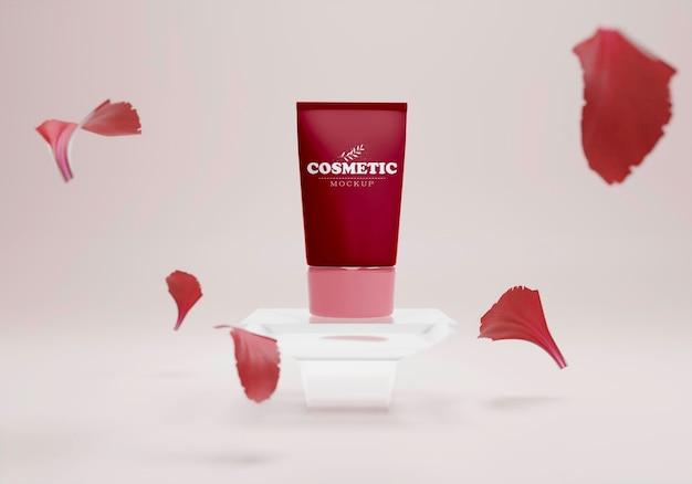Kosmetisches produkt auf einem ständer mit blütenblättern