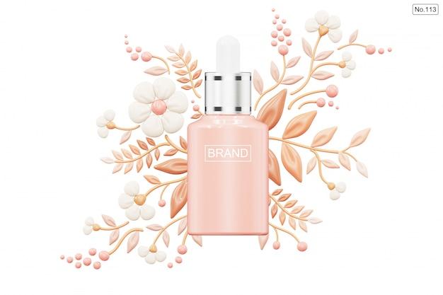 Kosmetisches produkt und grundlage in form der blume auf weiß