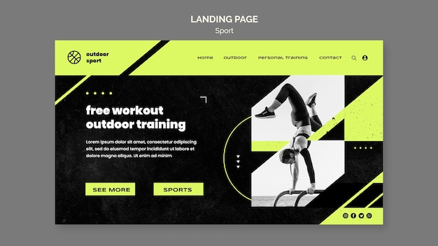 Kostenlose outdoor workout landing page vorlage