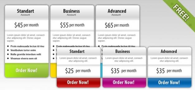 Kostenlose psd preis box templates