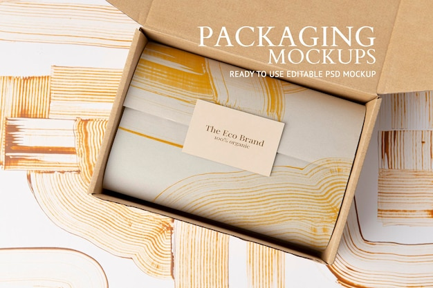 Kraft-box-verpackungsmodell psd im abstrakten stil