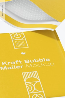 Kraft bubble mailers mockup, nahaufnahme