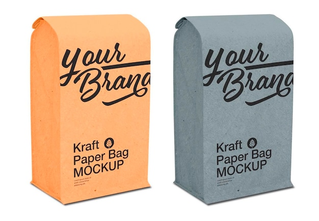 Kraft paper bag mockup design