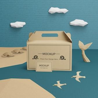 Kraft papiertüte für ozean tag mit modell