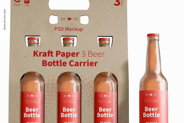 Kraftpapier 3 bierflaschenträger mockup, nahaufnahme