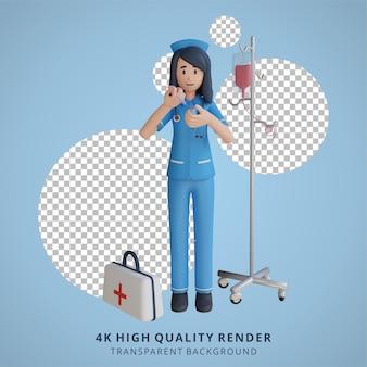 Krankenschwester, die eine leere weiße tafel 3d-charakterillustration hält