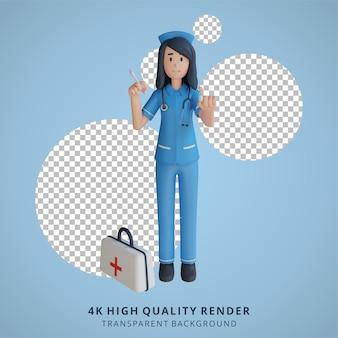 Krankenschwester, die einen impfstoff hält 3d-charakterillustration