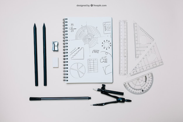 Kreativ zurück zur schulvorlage mit notebook
