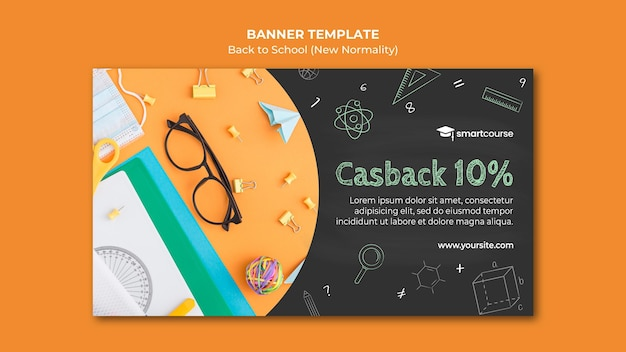 Kreative back to school banner vorlage