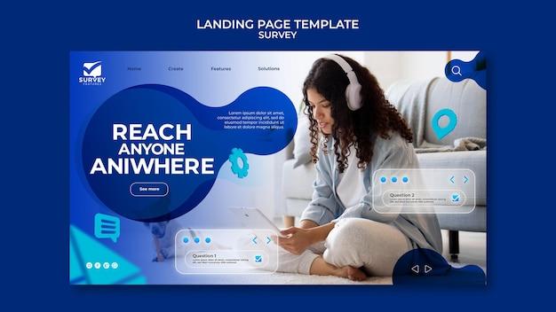 Kreative blaue umfrage-webvorlage