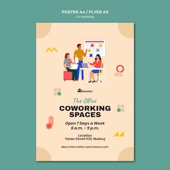 Kreative coworking-druckvorlage