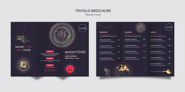 Kreative dreifachgefaltete broschürenschablone des schwermütigen lebensmittels
