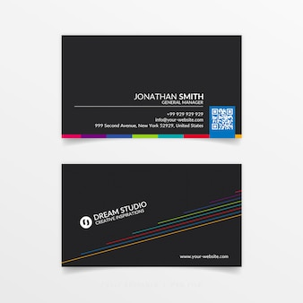 Kreative farbenfrohe visitenkarte minimal