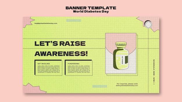 Kreative horizontale bannervorlage für den weltdiabetestag