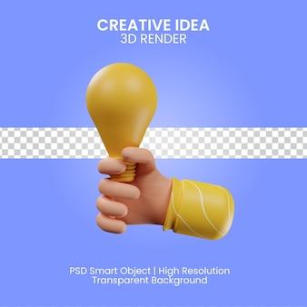 Kreative idee 3d-render-illustration isoliert