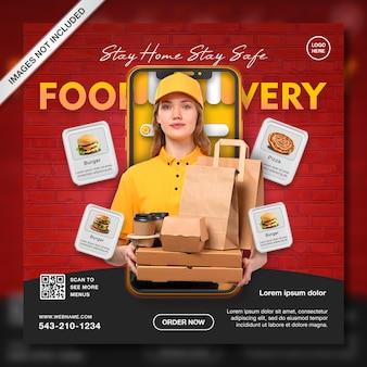 Kreative instagram-postvorlage für die online-werbung für die lebensmittellieferung