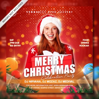 Kreative instagram-postvorlage für weihnachtsfeierförderung