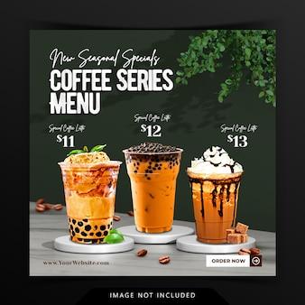 Kreative kaffeegetränke-menüanzeige mit 3d-podium-hintergrund-rendering für instagram-post-vorlage