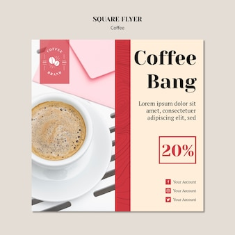 Kreative kaffeestube quadrat flyer vorlage