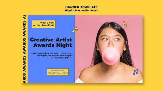 Kreative künstler award nacht banner vorlage