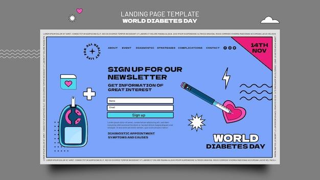 Kreative landingpage-vorlage für den weltdiabetestag