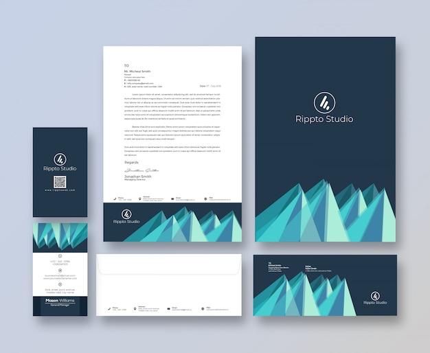 Kreative markenidentitäts-briefpapier-schablone