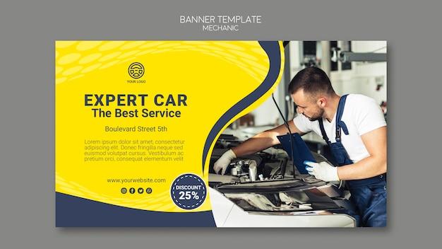 Kreative mechaniker-bannerschablone mit foto
