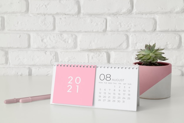 Kreative mock-up-kalenderanordnung