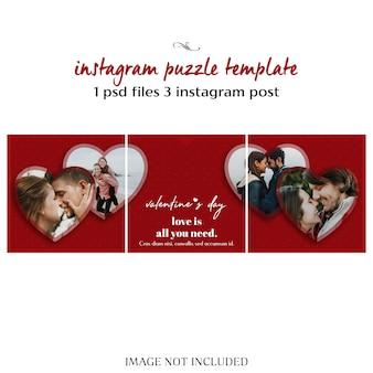 Kreative moderne romantische valentinstag-instagram-puzzlespiel-beitrags-schablone und foto-modell