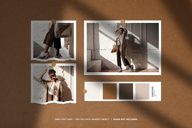 Kreative moodboard- und fotocollagen-vorlage