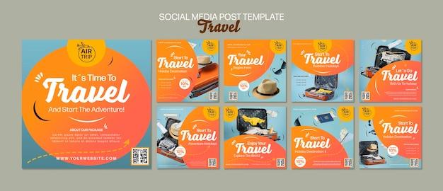 Kreative reisende social-media-beiträge