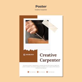 Kreative schreiner-anzeigenplakatschablone