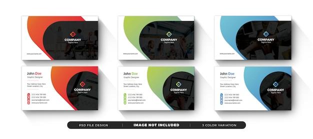 Kreative visitenkarte des unternehmens mit sauberem farbverlauf