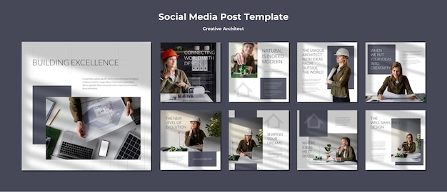 Kreativer architekt social media post
