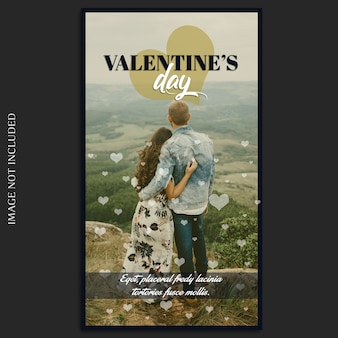 Kreativer moderner romantischer valentine day instagram story template und foto-modell