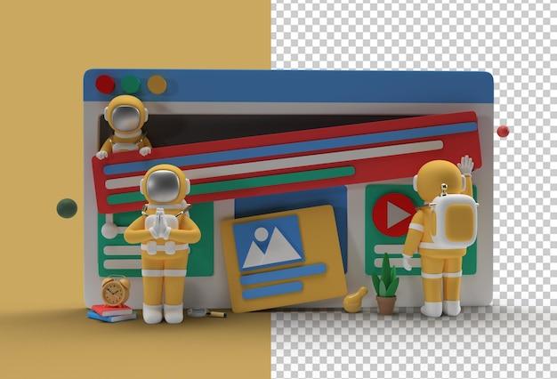 Kreatives 3d render design astronaut namaste geste für marketing webbanner