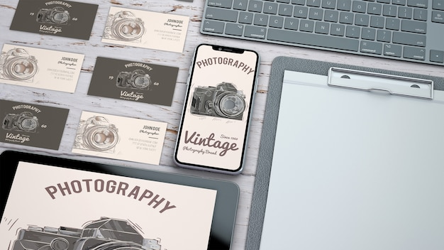 Kreatives briefpapiermodell mit fotografiekonzept