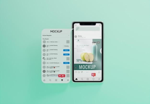 Kreatives geschäftssortiment mit smartphone-modell